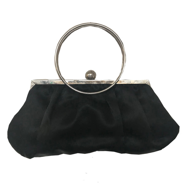 Vintage 1950s Circle Handle Satin Evening Bag