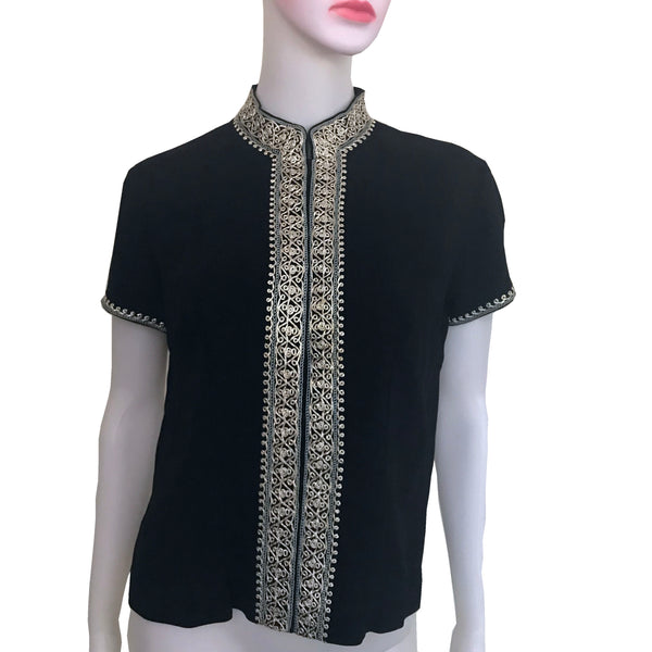 Vintage 1950s Hand-Made Black Embroidered Blouse