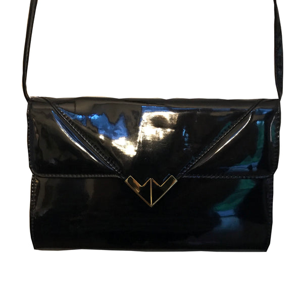 Vintage 1980s Patent Leather Crossbody Clutch Bag
