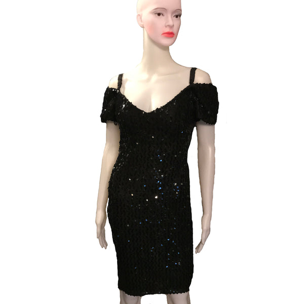 Vintage 1980s Black Sequined Cocktail Dress