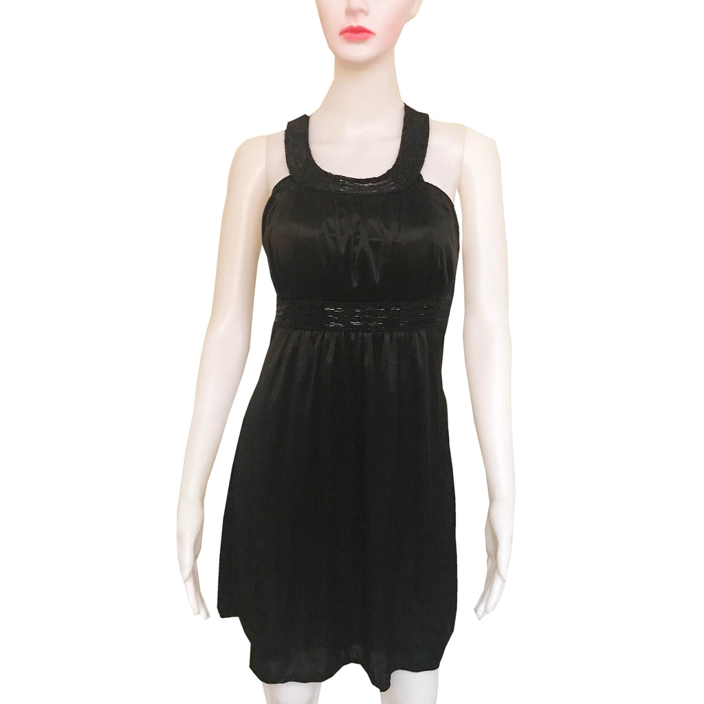Vintage 1990s Black Satin Beaded Halter Mini Dress