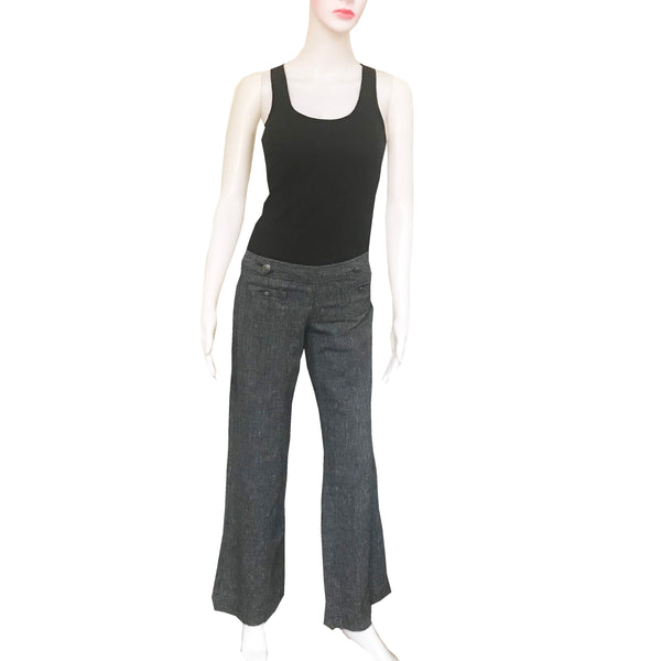Vintage 1990s Express Wide-Leg Linen Trouser Pants