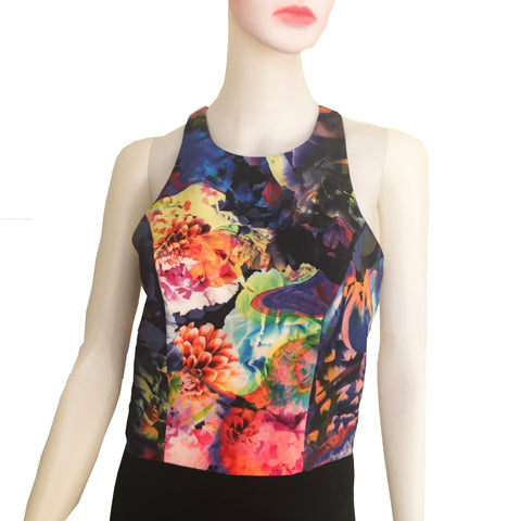 Vintage 1990s Sleeveless Floral Crop Top