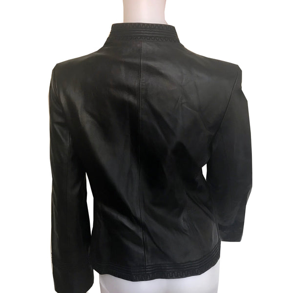 Vintage 1990s Anne Klein Embroidered Leather Jacket