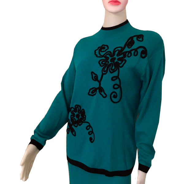 Vintage 1980s Adolfo Knits Embroidered Sweater Set