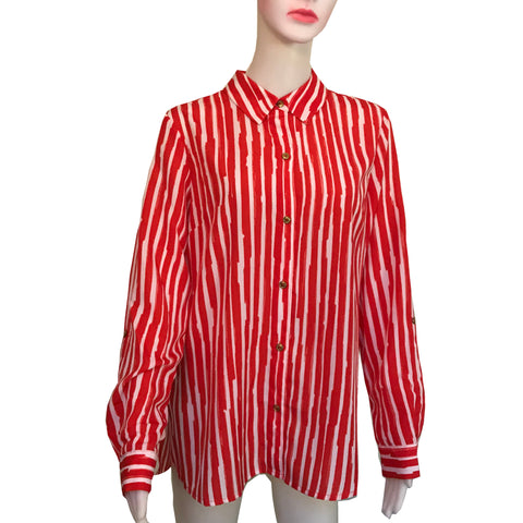 Vintage 1990s Anne Klein Striped Button-Down Blouse