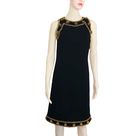 Vintage 1960s BANFF Black Wool Beaded Dress