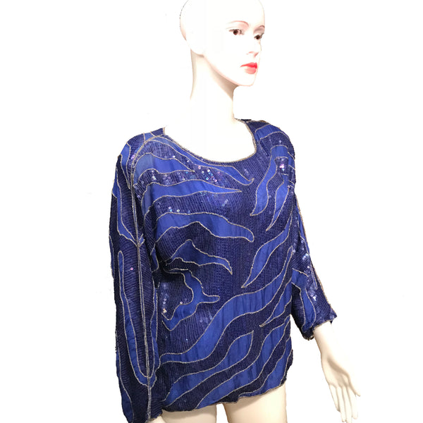 Vintage 1980s Beaded & Sequined Silk Blouse