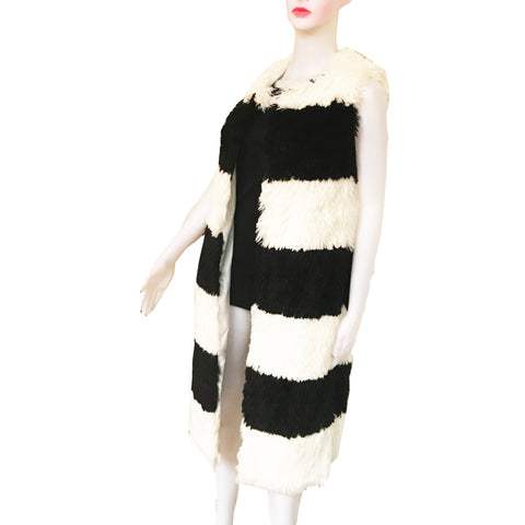 Black & White Long Faux Fur Vest