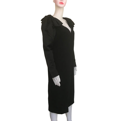 Vintage 1960s Mollie Parnis Black Wool Bow Dress