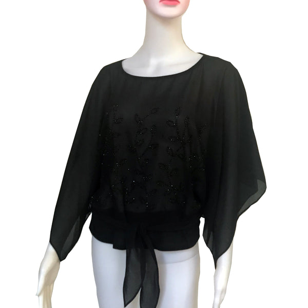 Vintage 1970s Batwing Sleeve Sheer Blouse