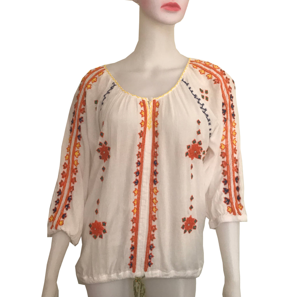 Vintage 1960s Boho Hippie Embroidered Blouse