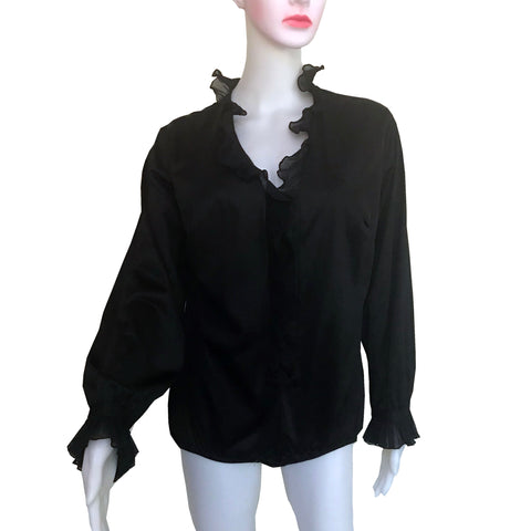 Vintage 1970s Black Satin Ruffled Bodysuit