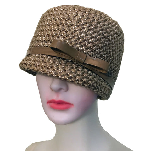 Vintage 1960s Woven Cloche Hat With Patent Bow