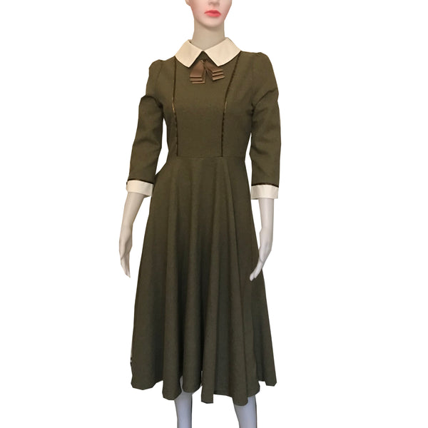 Vintage 1950s Green Cotton Day Dress With Bow