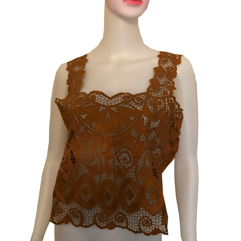 Vintage 1970s Handmade Lace Crop Top