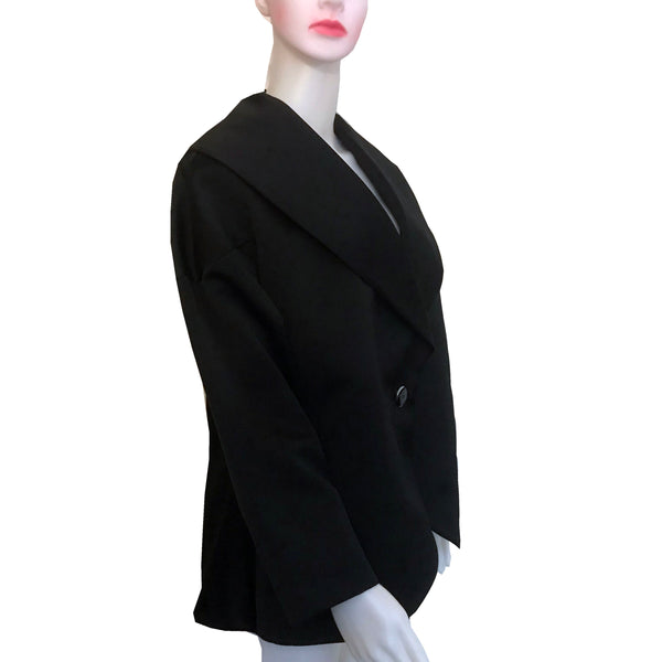 Vintage 1980s Oleg Cassini Black Satin Jacket