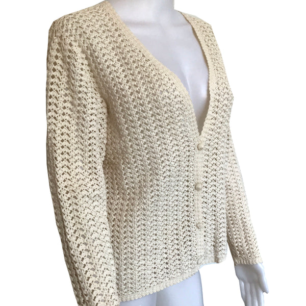 Vintage 1960s Hand Crocheted Cardigan