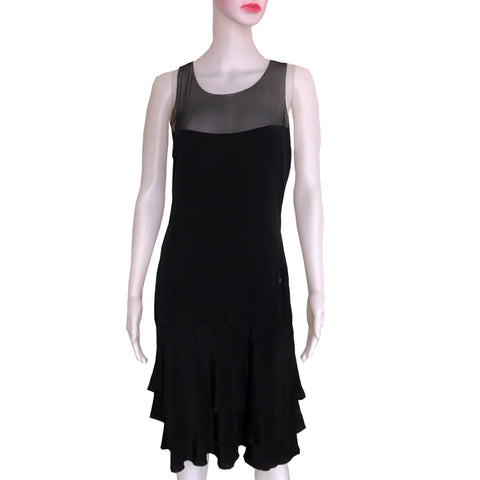 Vintage 1990s Chanel Black Silk Sleeveless Dress