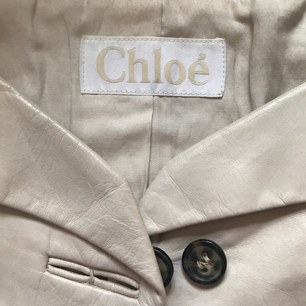 Vintage 1990s Chloe Cream Cropped Leather Jacket