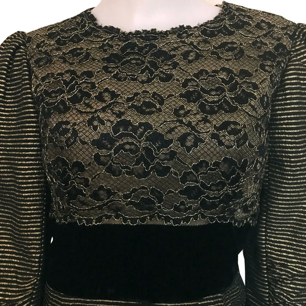 Vintage 1980s Victor Costa Metallic Lace Dress