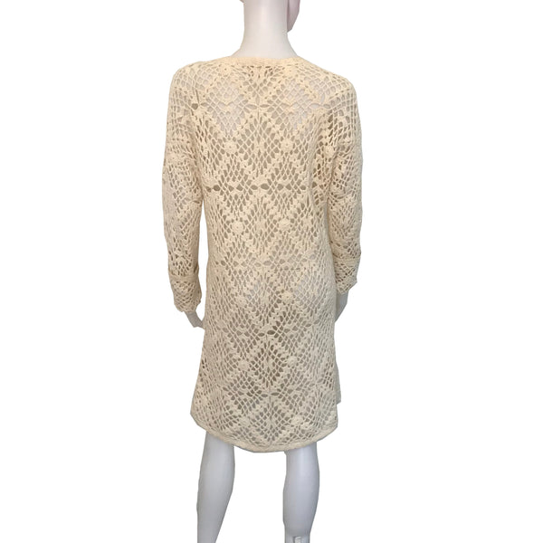 Vintage 1970s Hand Crocheted Sweater Dress