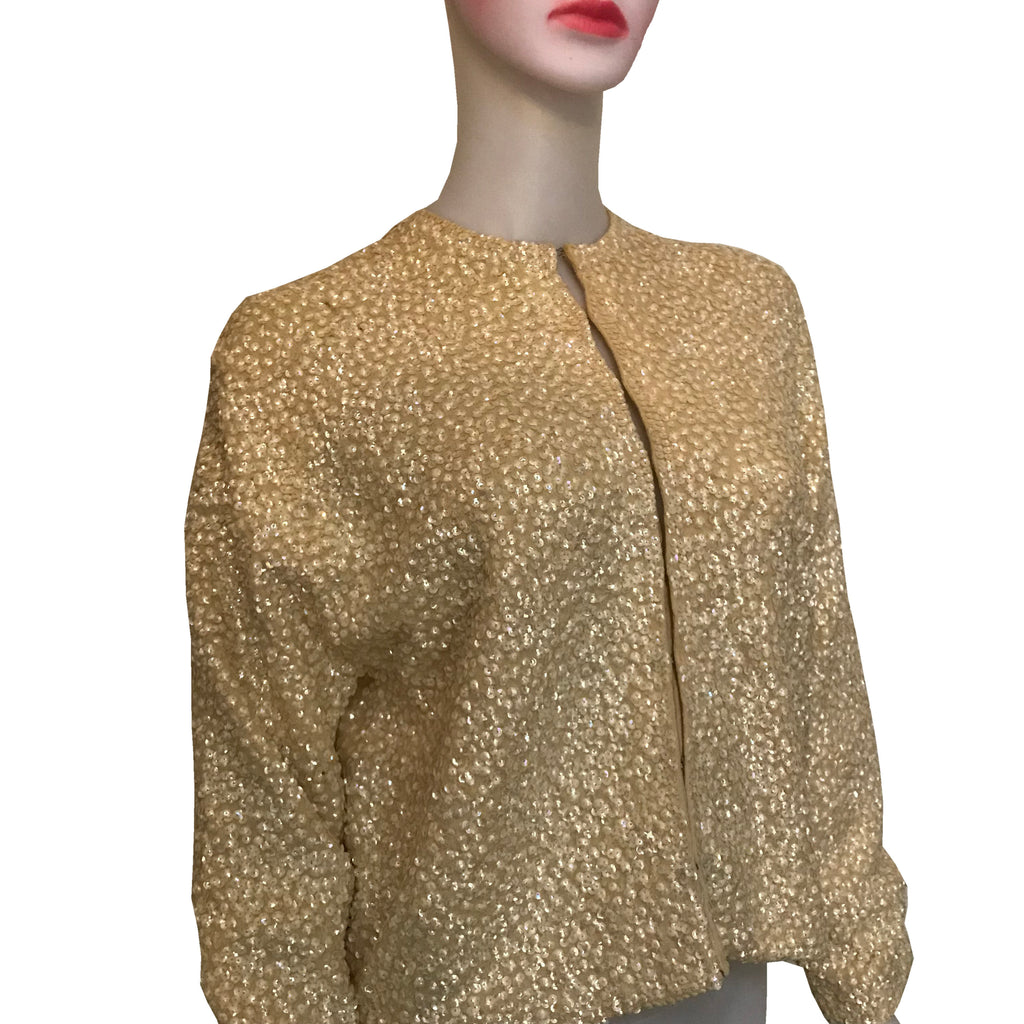 Vintage 1950s Furs by Karol Gold Sequined Cardigan