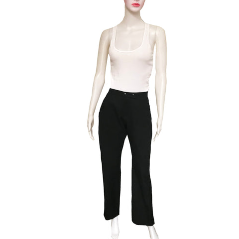 Modern 2000s Givenchy Black Wool Snap Ankle Trousers