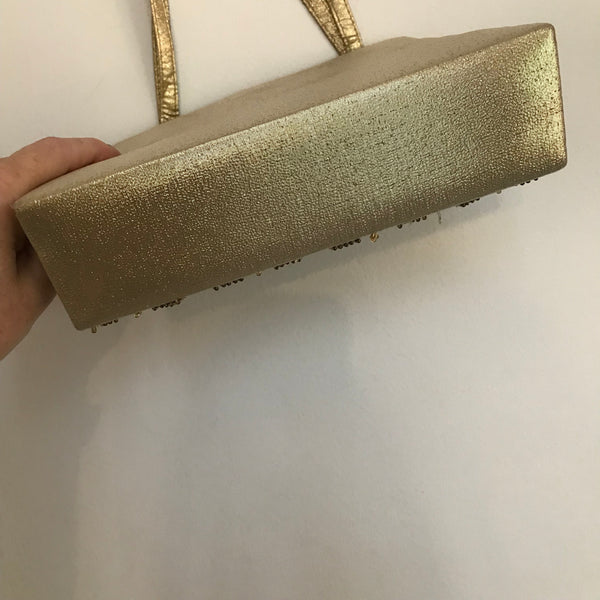 Vintage 1950s Gold Beaded & Sequined Evening Bag