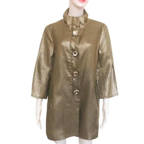 Vintage 1960s Gold Linen Car Coat With Oversized Buttons