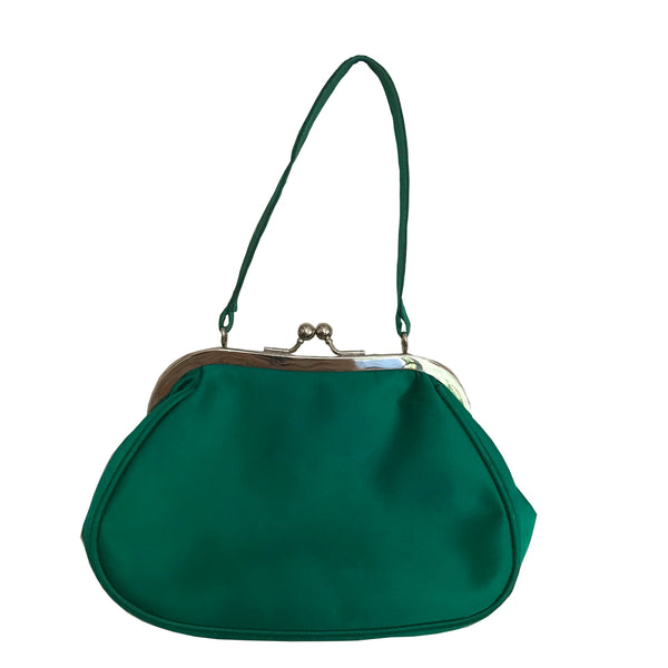Vintage 1950s Emerald Green Satin Evening Bag