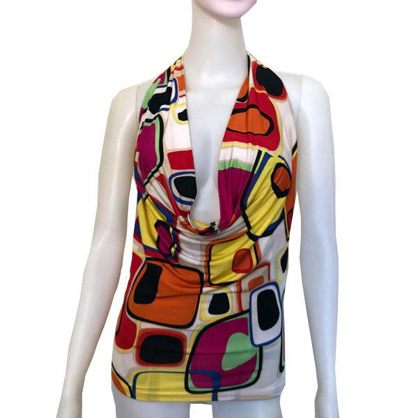 Vintage 1990s Graphic Print Backless Halter Top
