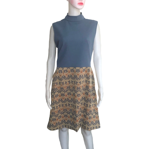 Vintage 1960s Sleeveless Polyester Knit Day Dress