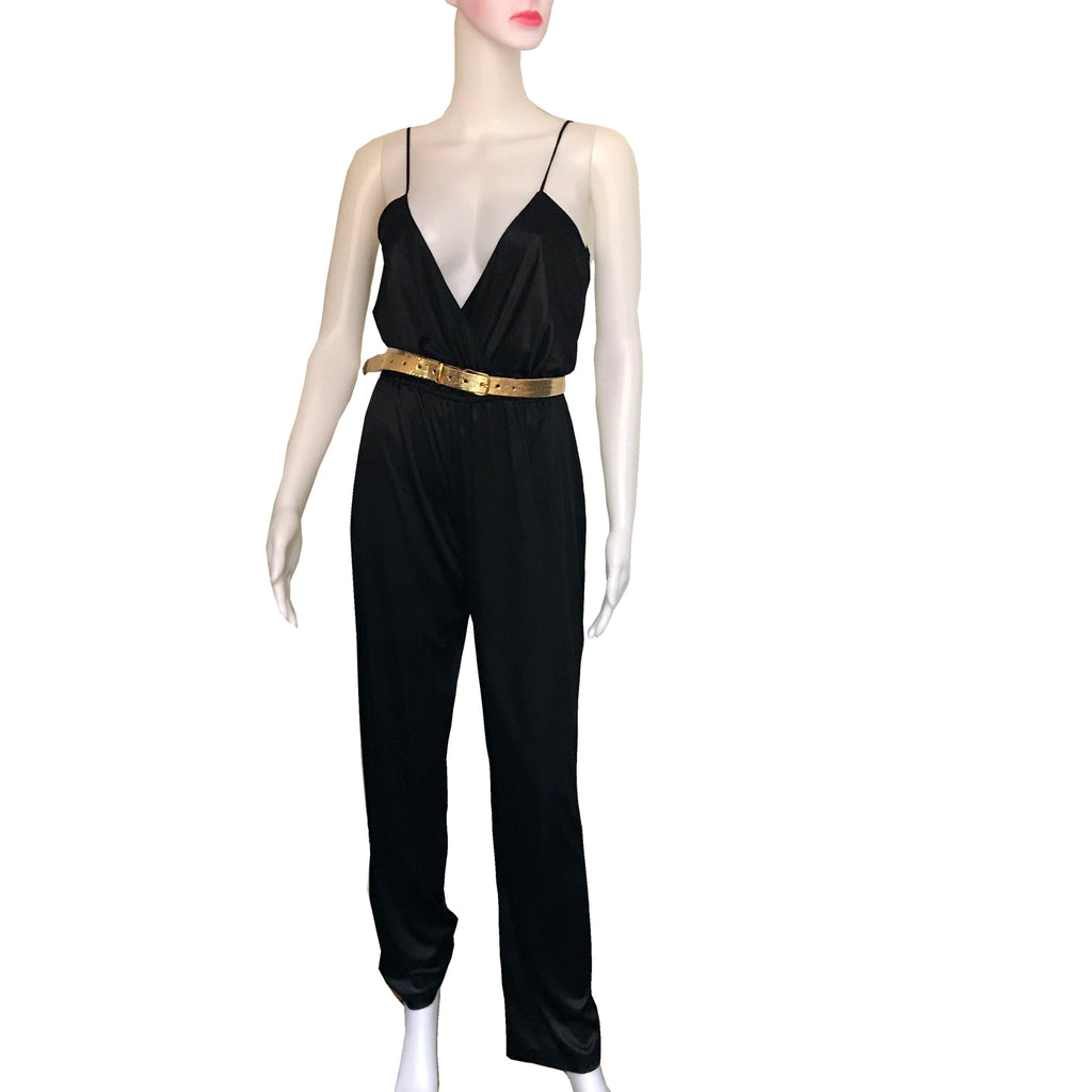 Vintage 1970s Sexy Black Disco Jumpsuit