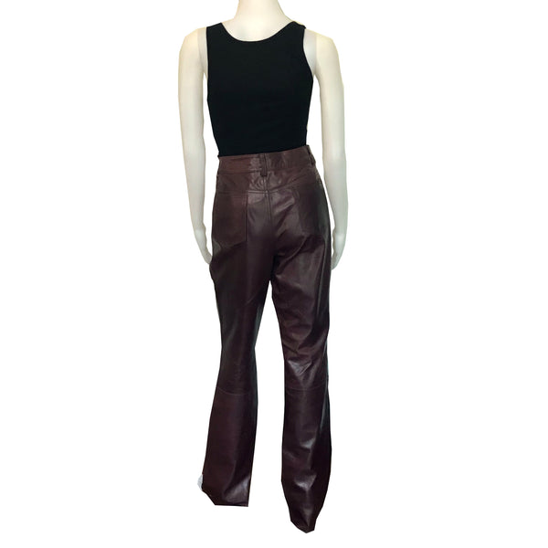 Vintage 1980s Wilsons Leather Burgundy High Waisted Pants