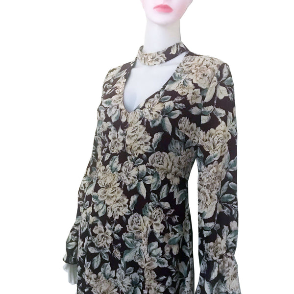 Vintage 1970s Brown Floral Print Maxi Dress