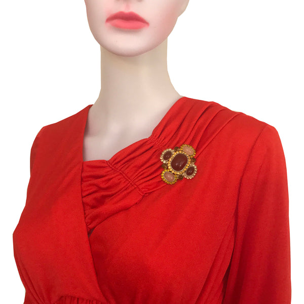Vintage 1960s Jersey Gown With Wrap Scarf & Brooch