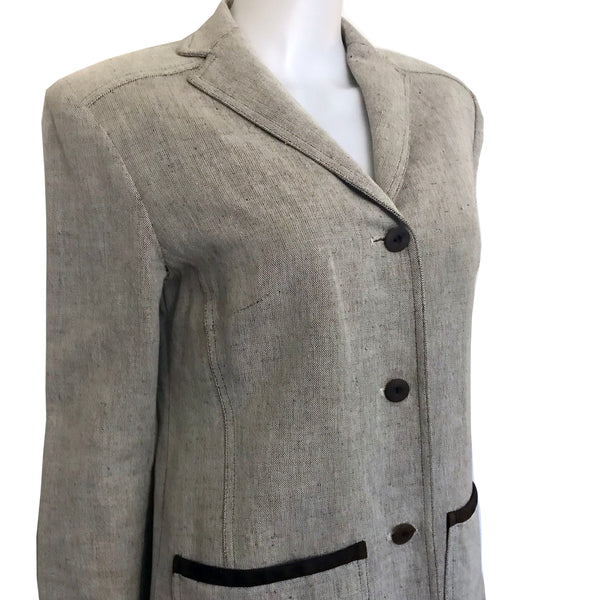 Vintage 1990s Gray Tweed Oscar de la Renta Jacket