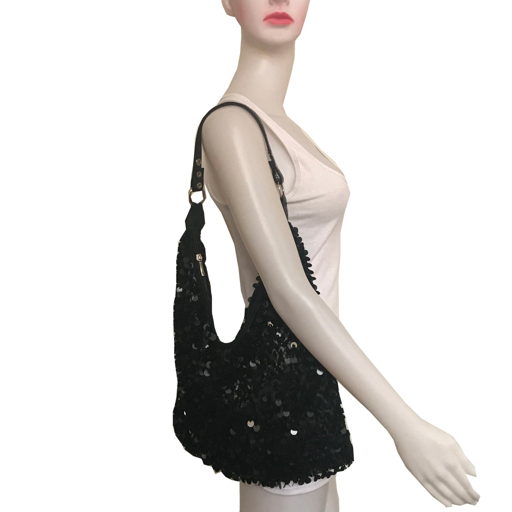Vintage 1980s Black Paillettes Slouch Shoulder Bag