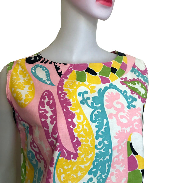 Vintage 1960s Mod Cotton Paisley Shift Dress