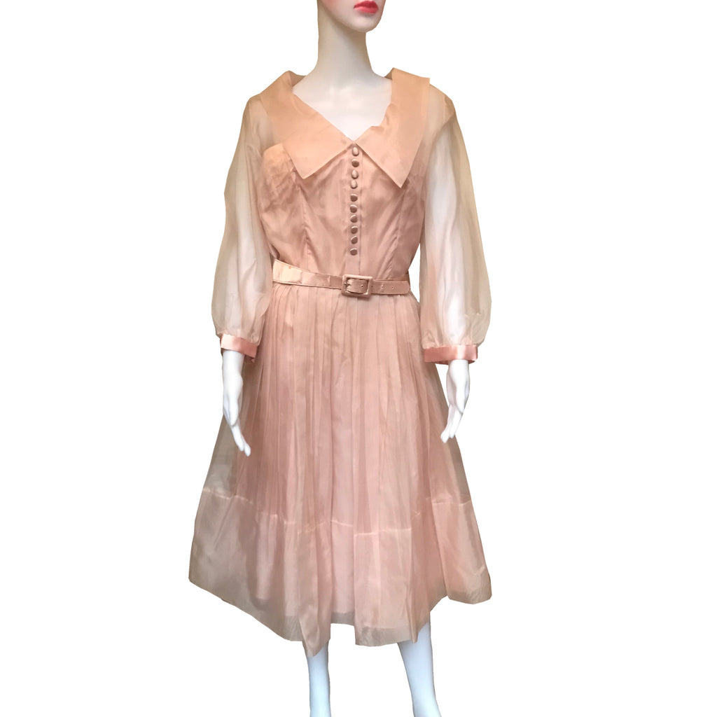 Vintage 1950s Pink Formal Fit-n-Flare Party Dress