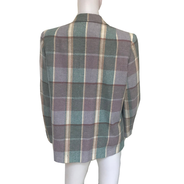 Vintage 1980s Pastel Plaid Preppy Wool Blazer