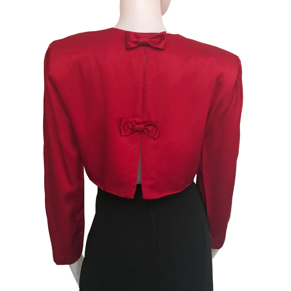 Vintage 1980s Red Satin Cropped Jacket With Bows