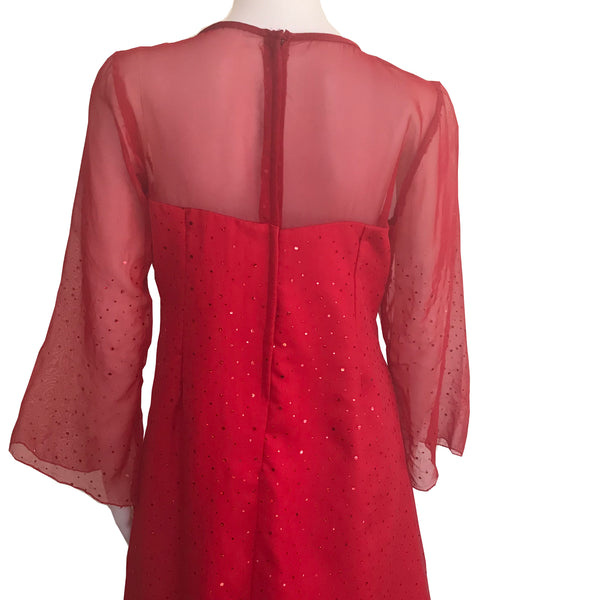 Vintage 1960s Handmade Red Cocktail Dress