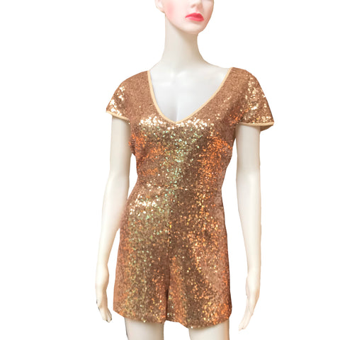 Hyfve Rose Gold Sequin Playsuit