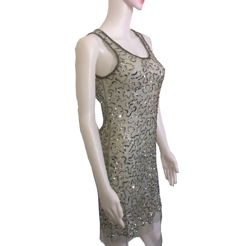 Vintage 1970s Silver Sheer Sequined Slip Dress