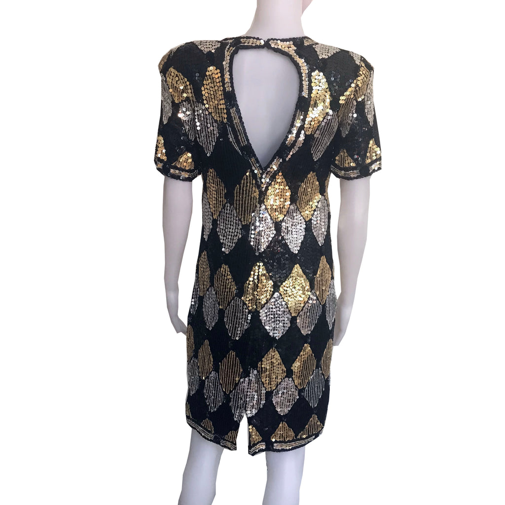 Vintage 1980s Black-Gold-Silver Sequined Dress