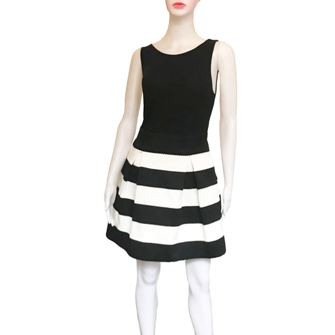 Black & White Striped Scuba Skater Skirt