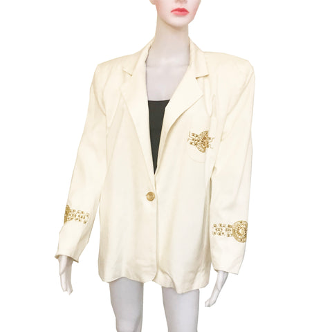 Vintage 1980s The Icing White Beaded Blazer