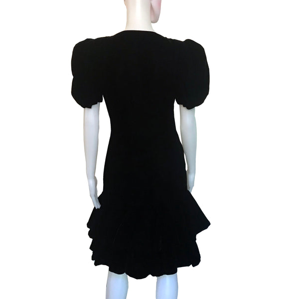 Vintage 1980s Victor Costa Black Velvet Cocktail Dress